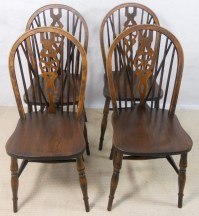Set of Four Antique Style Wheelback Kitchen Dining Chairs ...