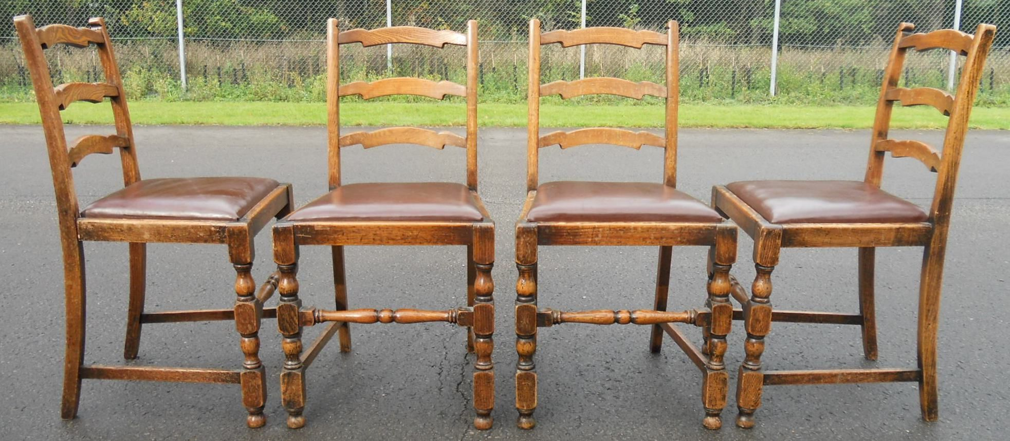 antique ladder back chairs uk kneeling chair staples canada set of four oak ladderback dining
