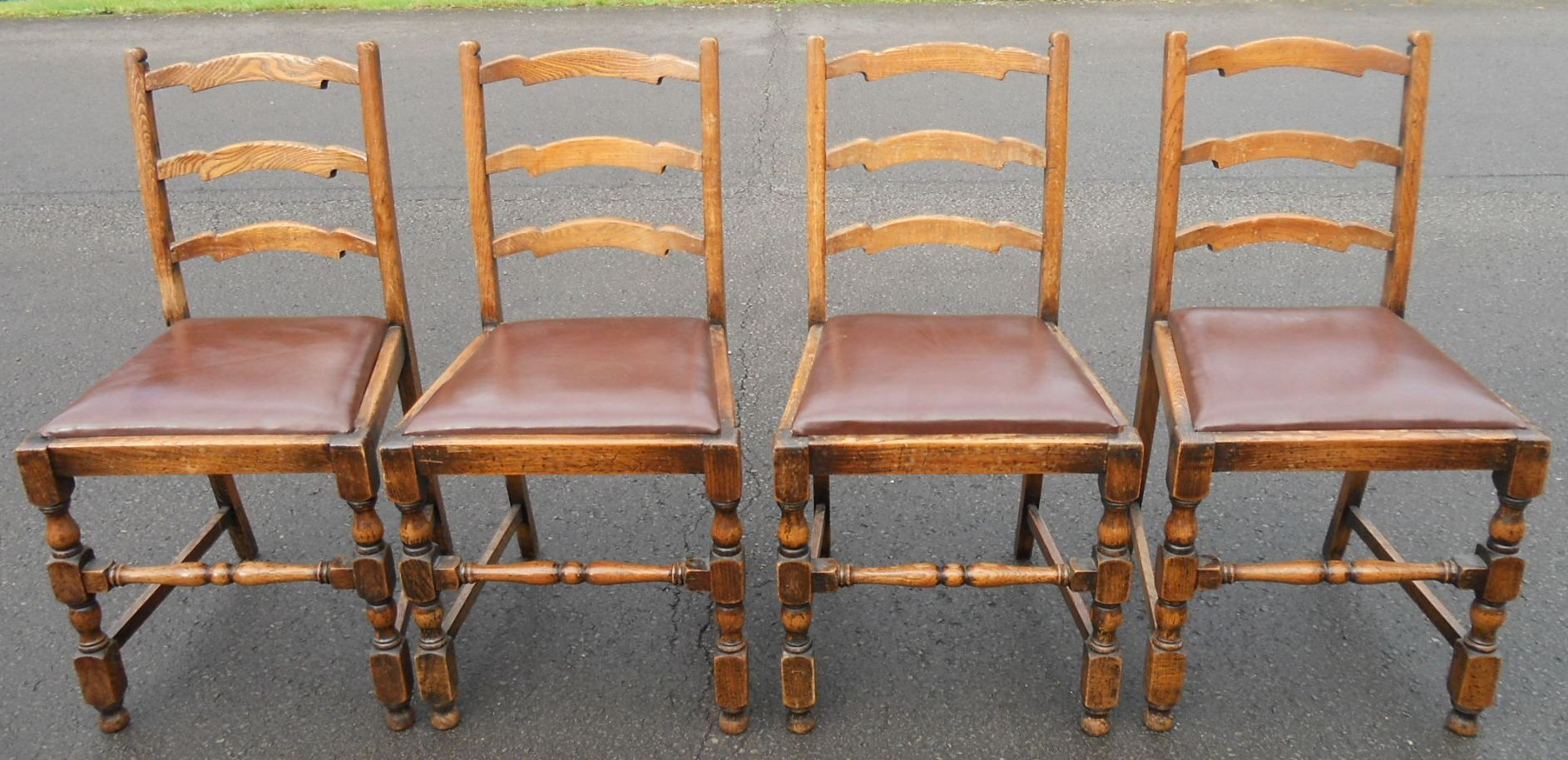 antique ladder back chairs uk cushion for office chair set of four oak ladderback dining