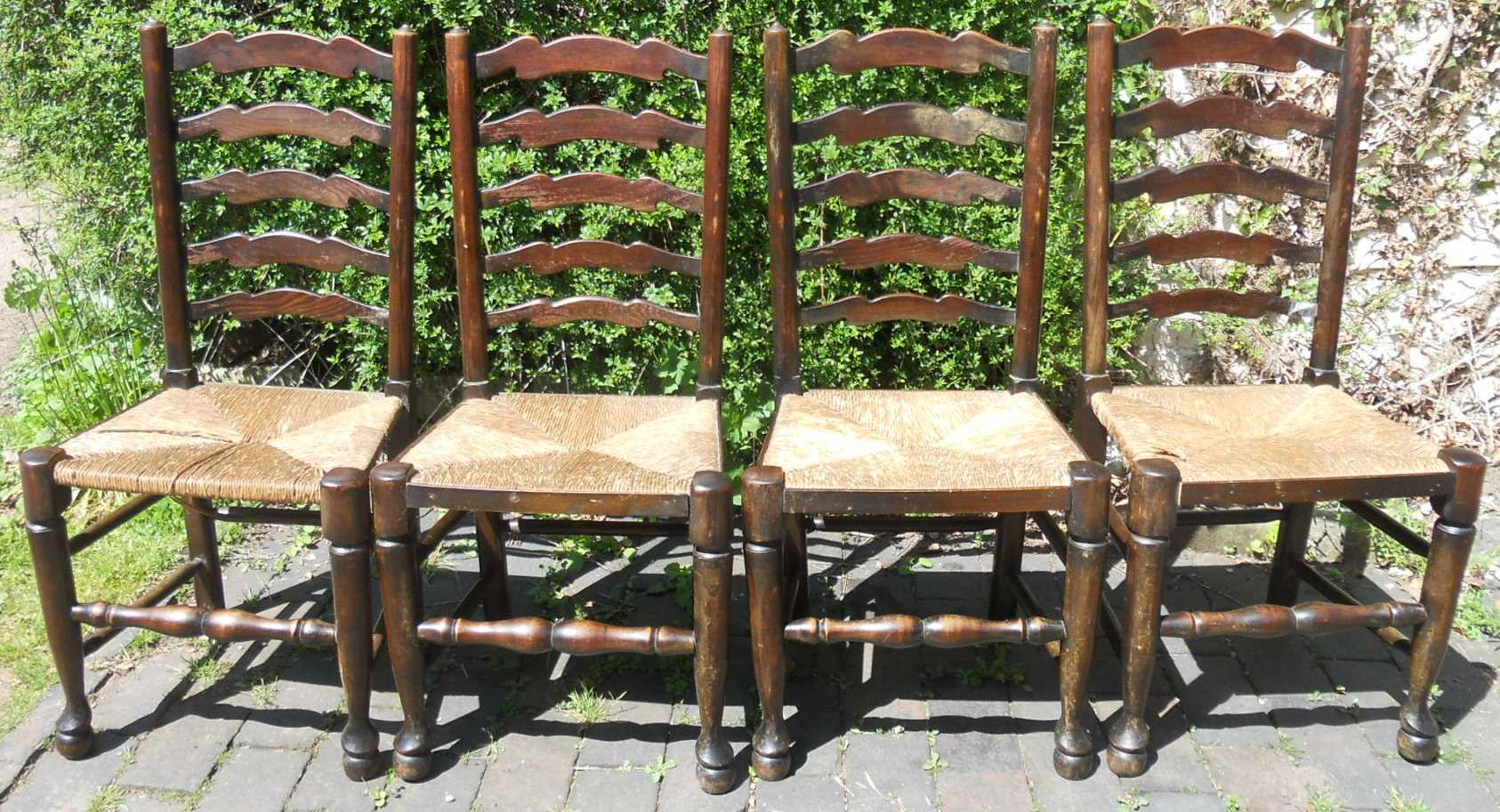 antique ladder back chairs uk zero gravity lift chair set of four rush seat ladderback dining