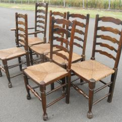 Antique Ladder Back Chairs With Rush Seats West Elm Stackable Chair Set Of Six Ladderback Seat Dining