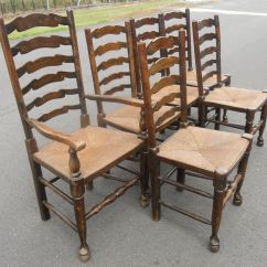 Antique Ladder Back Chairs With Rush Seats How To Clean A Recliner Chair Set Of Six Elm Ladderback Seat Dining
