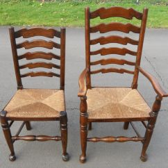 Antique Ladder Back Chairs With Rush Seats Upholstered Counter Set Of Six Elm Ladderback Seat Dining Sold