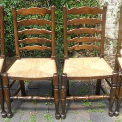 Antique Ladder Back Chairs With Rush Seats Patio Chair Strap Replacement Canada Set Of Six Ladderback Seat Dining