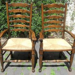Antique Ladder Back Chairs With Rush Seats Wicker Set Of Six Ladderback Seat Dining