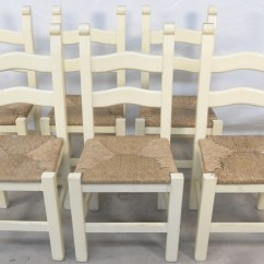 Kitchen Dining Chairs Outdoor Cabinet Doors Set Of Six Painted Wood Ladderback Rush Seat Sold