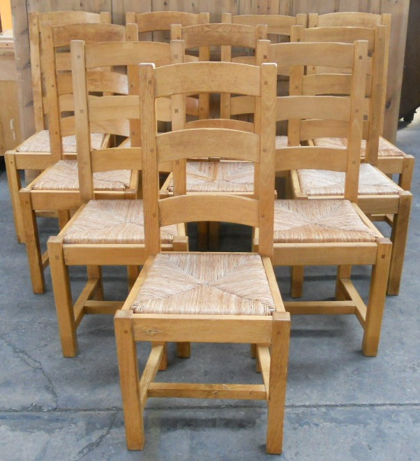 retro metal kitchen cabinets country french kitchens set of ten light oak ladderback rush seat dining chairs - sold