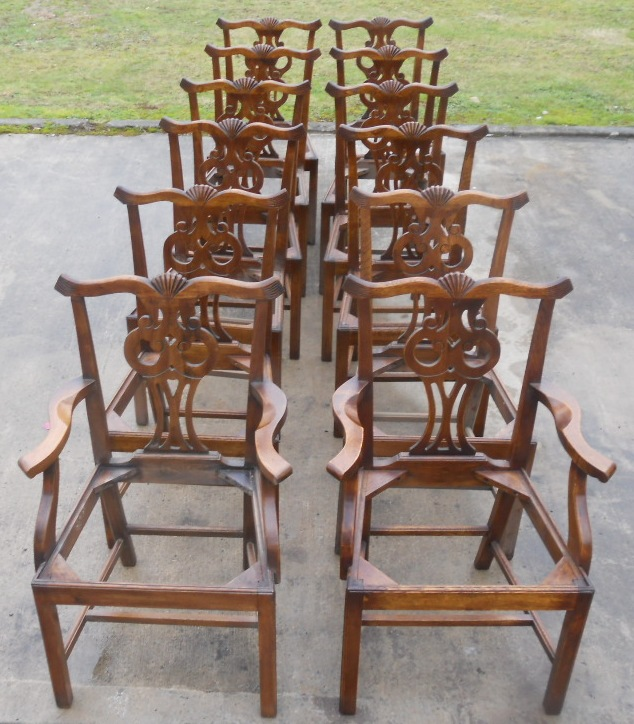 antique oak dining chairs office for tall man set of twelve chippendale style sold 1716 p jpg