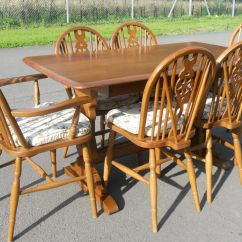 Chairs On Wheels Uk Swivel Chair Nigeria Set Six Wheelback And Refectory Dining Table