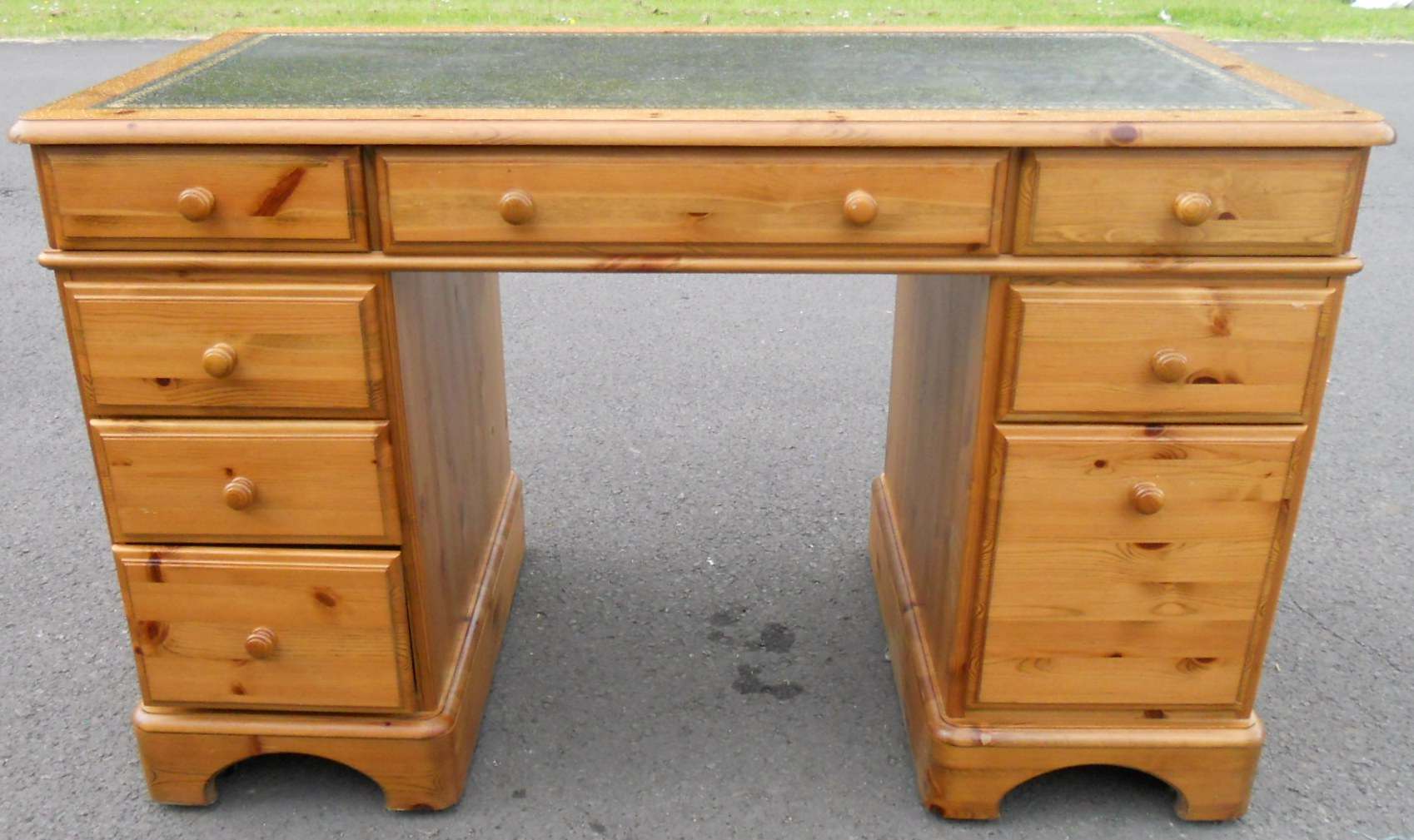 SOLD  Pine Kneehole Writing Desk by Ducal