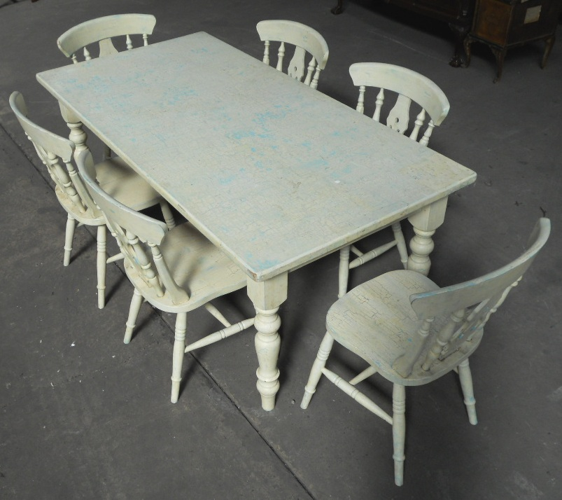 rustic dining chairs uk antique room victorian style painted kitchen table & matching six