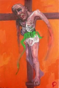 'Étude pour la crucifixion no.3' by M. Harrison-Priestman - acrylic on aluminum, 48 x 32 cm, 2107.