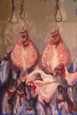 'Les Poissonniers' by M. Harrison-Priestman - acrylic on gesso, 50 x 45 cm, 2016.