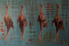 'Le Poulet no:4' by M. Harrison-Priestman - oil on linen, 150 x 100 cm, 2015.