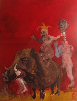 'Le Sanglier' by M. Harrison-Priestman - acrylic on gesso, 60 x 50 cm, 2016.