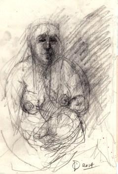 'Mère et l'enfant' by M. Harrison-Priestman - pencil on paper, 40 x 30 cm, 2014.