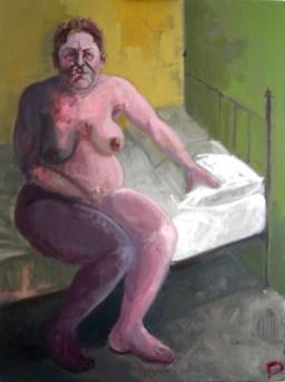 'Femme sur un lit' by M. Harrison-Priestman - acrylic on linen, 80 x 60 cm, 2017.