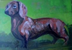 'Le chien Saucisse' by M. Harrison-Priestman - acrylic on linen, 35 x 50 cm, 2108.