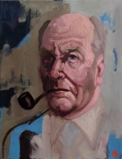 'Le fumeur de pipe no:5' by M. Harrison-Priestman - oil on linen, 45 x 35 cm, 2019.