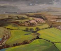 'Tempête sur le Blorange' part of 'This Green and Pleasant Land' series by M. Harrison-Priestman - oil on linen, 50 x 60 cm, 2019.
