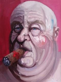 'Le milliardaire fumeur de cigares no:15' by M. Harrison-Priestman - oil on canvas, 40 x 30 cm, 2019.