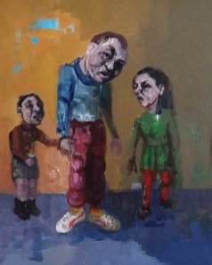 'Istanbul Enfants De La Rue no:7' work in progress, by painter M. Harrison-Priestman - acrylic on linen, 50 x 35 cm, 2019.