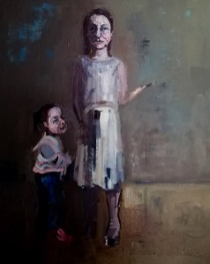 'Istanbul Enfants De La Rue no:2' work in progress, by painter M. Harrison-Priestman - acrylic on linen, 60 x 50 cm, 2019.
