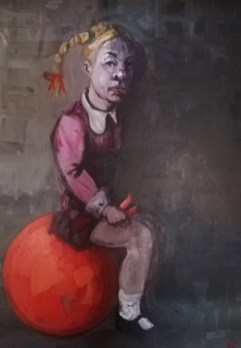 'Istanbul Enfants De La Rue no:5' by painter M. Harrison-Priestman - acrylic on linen, 50 x 35 cm, 2019.