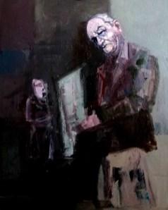 'Père, journal lecture' by M. Harrison-Priestman - acrylic on canvas, 50 x 40 cm, 2019.