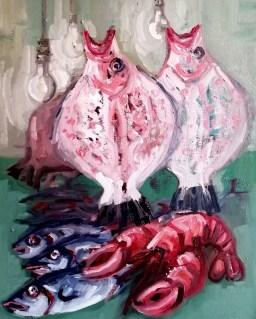 'Le Poisson no:3 - Marché aux poissons de Kadikoy' by M. Harrison-Priestman - oil on linen, 35 x 45 cm, 2020.