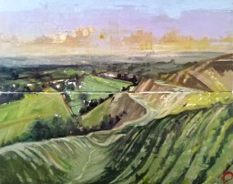 'Jour venteux no:3- Yorkshire Dales' part of 'This Green and Pleasant Land' series by M. Harrison-Priestman - acrylic on linen, triptych - each panel 40 x 100 cm - complete 80 x 100 cm, 2020.