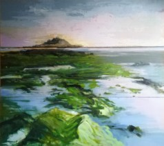 'St. Michael's Mount, Marazion, Cornwall' part of 'This Green and Pleasant Land' series by M. Harrison-Priestman - acrylic on linen, triptych, each panel 40 x 100 cm, complete 120 x 100 cm, 2020.