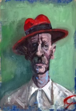 'Homme au chapeau rouge' by M. Harrison-Priestman - acrylic on stretched paper with a pumice and ultramarine ground, 50 x 40 cm, 2020.