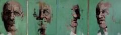 'Quatre visages d'Alzheimer' work in progress by M. Harrison-Priestman - acrylic on linen, 40 x 100 cm, 2020.