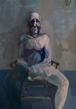 'L'homme mélancolique' by M. Harrison-Priestman - 49 x 34 cm, acrylic on canvas, 2020.