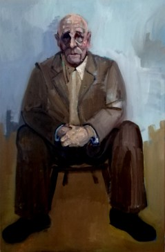 'Vieil homme sur un tabouret' by M. Harrison-Priestman - acrylic on canvas, 60 x 40 cm, 2020