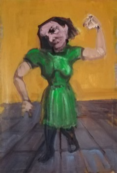 'Étude d'une femme folle' work in progress, by painter M. Harrison-Priestman - acrylic on paper, 50 x 35 cm, 2019.