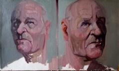 'Deux visages d'Alzheimer' by M. Harrison-Priestman - oil on linen, 30 x 50 cm, 2020.