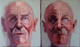 'Deux visages d'Alzheimer no:3' by M. Harrison-Priestman - oil on linen, 30 x 50 cm, 2020.