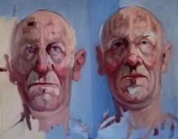 'Deux visages d'Alzheimer no:4' work in progress by M. Harrison-Priestman - oil on linen, 30 x 50 cm, 2020.