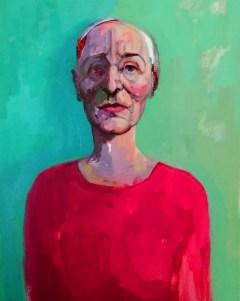 'Femme en robe rouge' by M. Harrison-Priestman - acrylic on linen, 60 x 50 cm, 2020.