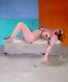 'Femme tordue' by M. Harrison-Priestman - oil on linen, 60 x 50 cm, 2020.