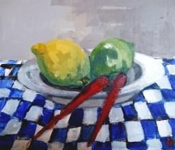 'Citrons et piments rouges'-Akyaka-Turkey series' by M. Harrison-Priestman - acrylic on ply, 28 x 36 cm, 2020.