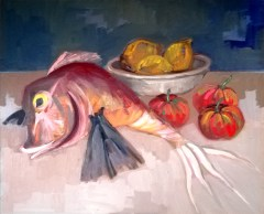 'Nature morte avec grondin - Marché aux poissons de Kadikoy' by M. Harrison-Priestman - oil on linen, 50 x 60 cm, 2020.