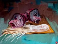 'Têtes de poisson et calmars' Marché aux poissons de Kadikoy' by M. Harrison-Priestman - oil on linen, 35 x 45 cm, 2020.
