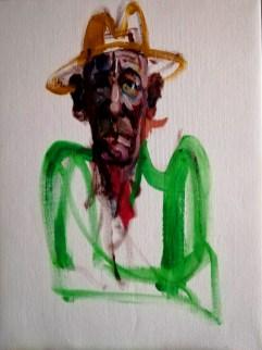 'Homme au chapeau' by M. Harrison-Priestman - acrylic on linen, 40 x 30 cm, 2020.