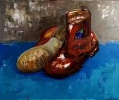 'Mes bottes après Van Gogh' work in progress by M. Harrison-Priestman - acrylic on linen, 50 x 60 cm, 2020.