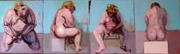 'Études de figures rapides no:3' by M. Harrison-Priestman - oil on linen, 30 x 100 cm, 2020.