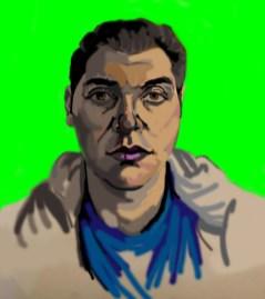 'Étude de tête no:1' digital portrait using my finger on my laptop pad by M. Harrison-Priestman - 2021.
