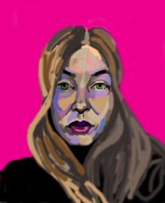 'Étude de tête no:8' digital portrait illustration using my finger on my laptop by M. Harrison-Priestman - 2021.